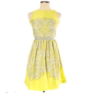 Ann Taylor Loft Yellow & Grey Paisley Midi Dress 8
